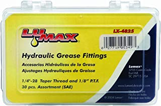 "Lumax Gold/Silver LX-4825 (SAE) 1/4""-28 and 1/8"" P.T.F. 30 Grease Fitting Assortment. LX-3007 (10, LX-3013, LX-3019, LX-3101 (8, LX-3117 (4, LX-3119 (2 Piece)"