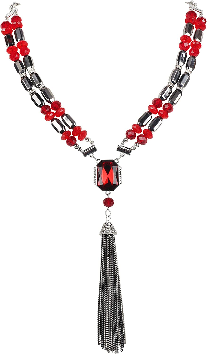 Coiris Chain Tassel Pendant Set in Drill Necklace I Am The Queen of My Stage