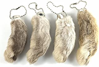 Dangerous Threads Rabbit Rabbits Foot Keychain White/Natural 4 Pcs