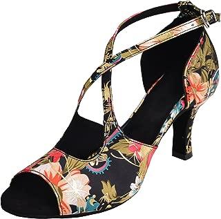 HXYOO Indoor Dance Shoes Women for Latin Ballroom Salsa Floral Satin 3