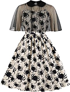 Wellwits Women's 2pcs Lace Cloak Net Spider Halloween Vintage Dress