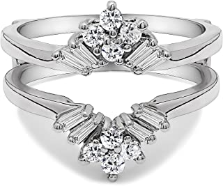 TwoBirch Sterling Silver V Shaped Round and Tapered Baguette Ring Guard with Cubic Zirconia (0.44 ct. tw.)