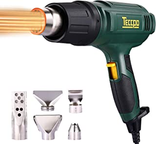 Pistola de aire caliente, TECCPO 2000W 230V profesional eléctrico, 3 configuraciones de Temperatura (50 ℃ / 480 ℃ / 600 ℃), área 500L / MIN, 5 accesorios, Calentamiento rápido
