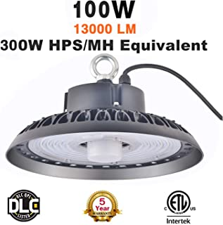 Upgraded Version UFO High Bay LED Light 100W With Motion Sensor, 13000lm, 5000K, Dimmable,500W Equivalent,Super Bright LED Warehouse Light, IP65 Waterproof, High Bay Shop Light Fixtures for Factory Ga