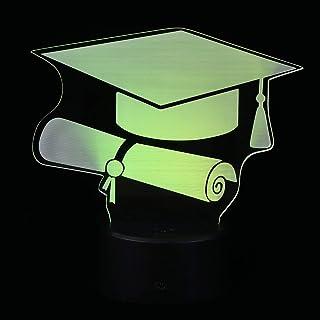 KESYOO Graduation Lamp 3D Illusion Lamp Graduation Cap Night Light 7 Color Changing Lights Bedside Lights for 2021 Graduat...