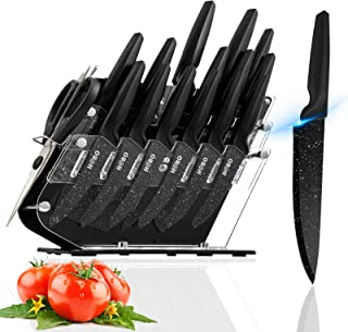 Knife Set, HOBO 17 Pieces Kitchen Knife Set Clear, German Stainless Steel Sharp Knife Set with Acrylic Block, Black Chef K...