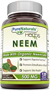 Pure Naturals Neem 500 Mg, 120 Veggie Capsules, Supports Digestive Functions, Promotes Detoxification of Blood, Supports S...