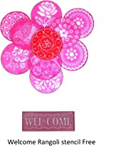Vardhman 12inches Big Round Stencils with 1 Welcome Rangoli Stencil (Set of 10)