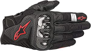 Alpinestars Men's SMX-1 Air v2 Motorcycle Riding Glove, Black/Fluorecent Red, X-Large