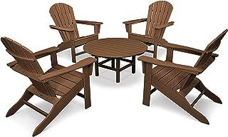 POLYWOOD PWS105-1-TE South Beach 5-Piece Conversation Group Adirondack Seating Set, Teak