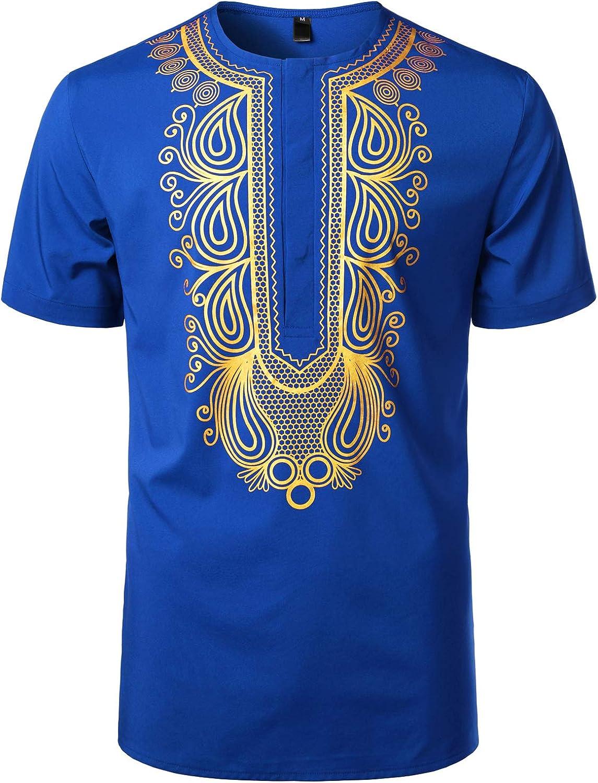 LucMatton Men's African Traditional Hidden Button Short Sleeve Shirt Luxury Metallic Gold Printed Dashiki