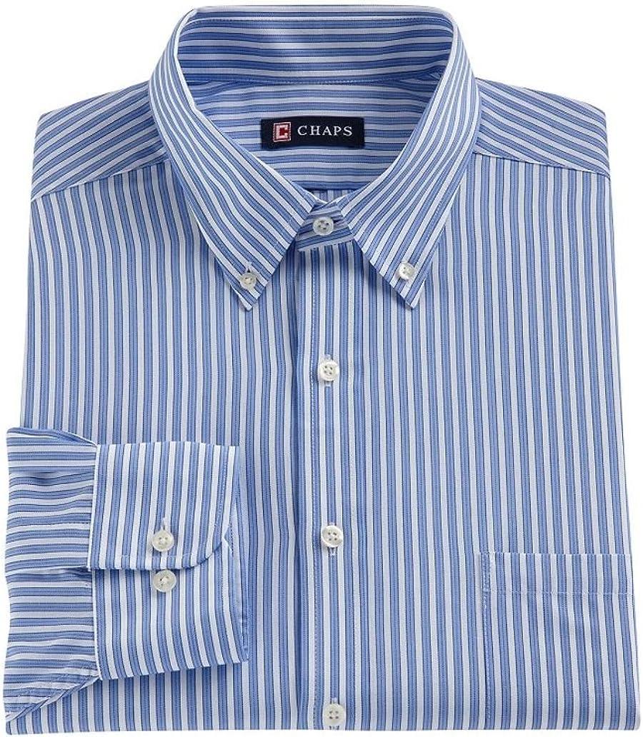 Chaps Mens Classic Fit Twill Dress Shirt Powder Blue