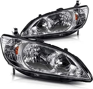 Headlight Assembly For 2004 2005 Honda Civic Smoke Housing Headlamps