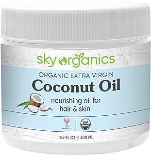 Organic Extra Virgin Coconut Oil by Sky Organics (16.9 oz) USDA Organic Coconut Oil..