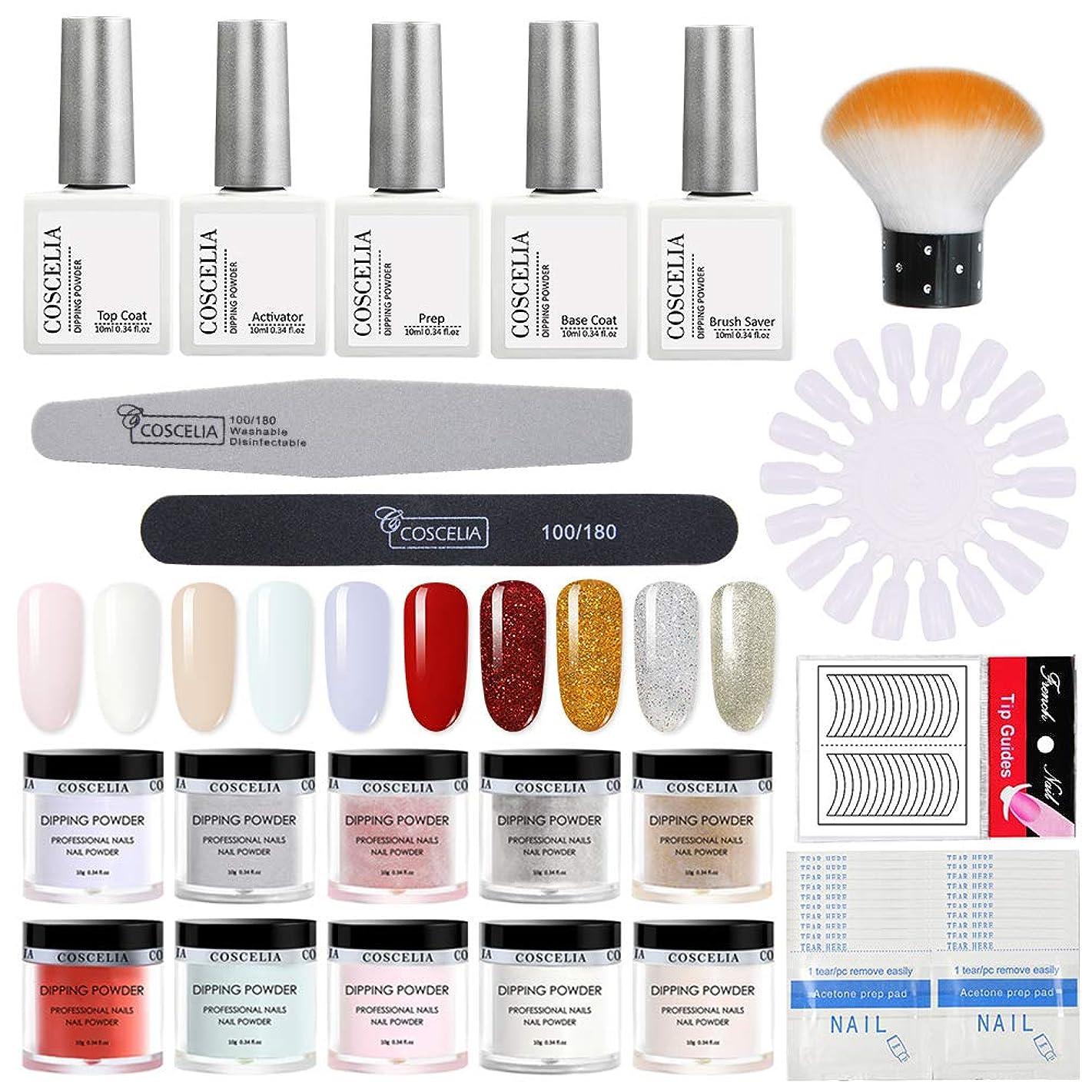 苦痛閲覧する感性浸漬パウダーカラー ディッピングパウダー 10色ネイルパウダーセット UV/LEDライトを必要がない ネイルデザインパウダー 自宅ネイル セルフネイルキット
