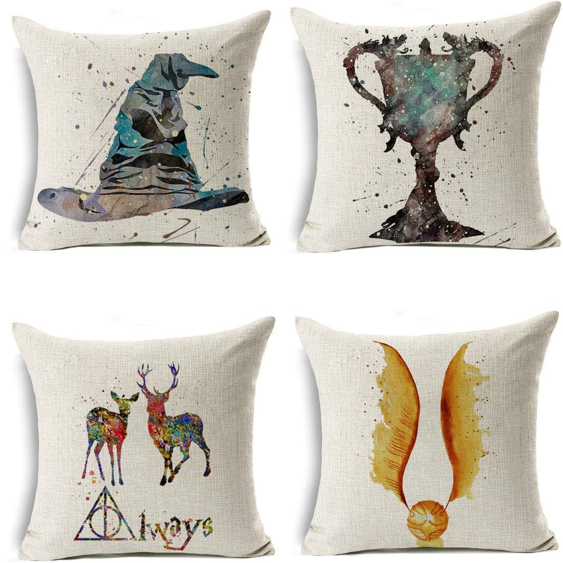 4PC Decorative Pillowcase Set Throw Pillow case Pillow Cover Cotton Linen Cushion Covers for Home//car//bar//Restaurant 18 x 18 inch-Harry Potter 090725 Cayyon