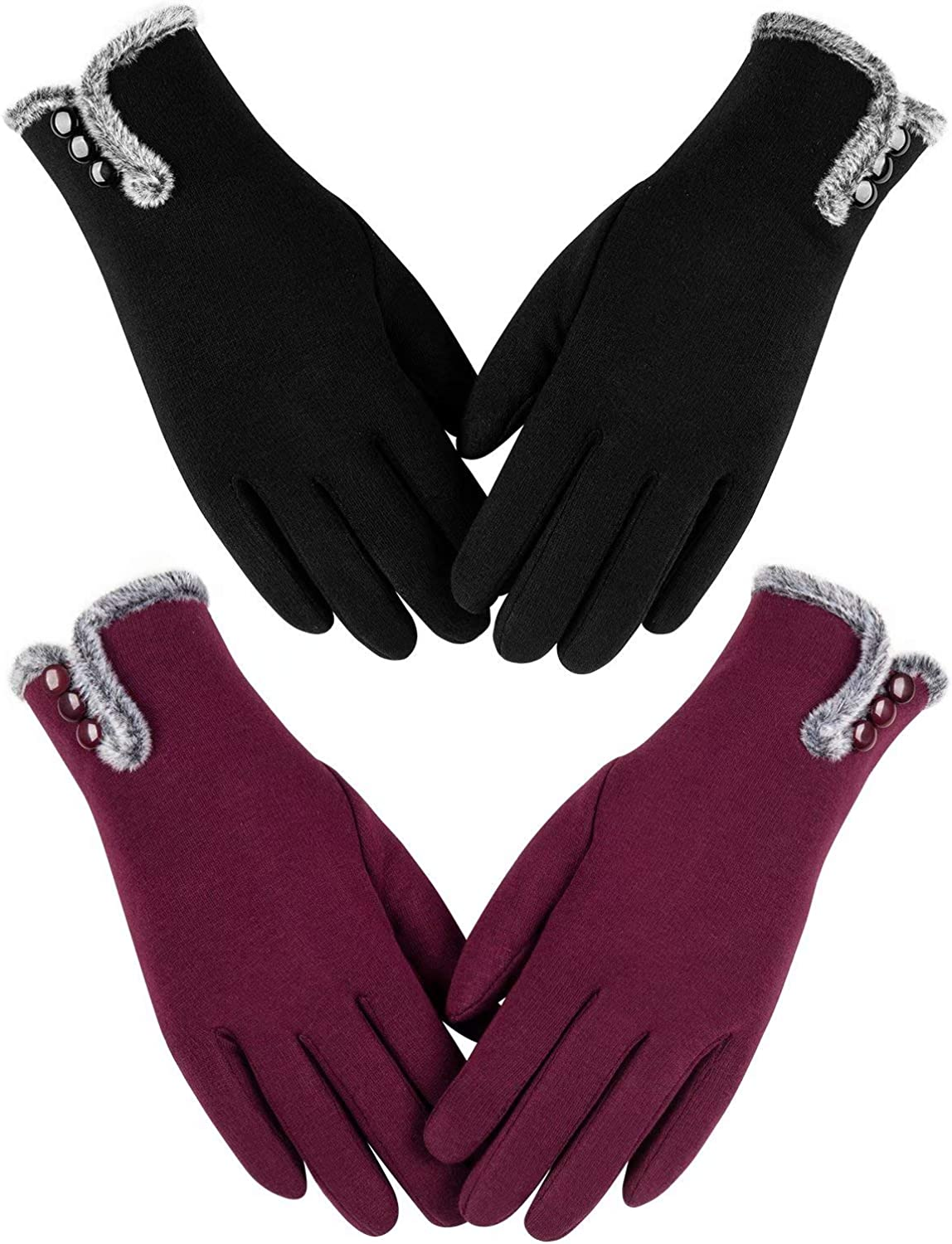 Womens Winter Warm Gloves With Sensitive Touch Screen Texting Fingers, Fleece Lined Windproof Gloves (Black Burgundy-M)