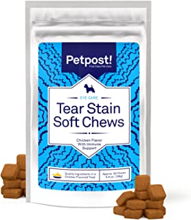 Petpost | Tear Stain Remover Chicken Flavored Soft Chews - Delicious Chicken Treat & Eye Stain Supplement for Dogs - Natural Treatment for Tear Stains on White Fur Angels (90 Daily Chews)