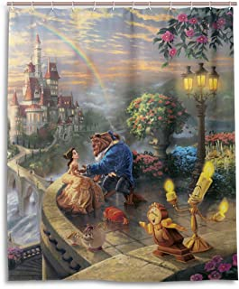 MESKERIA Beauty and The Beast Shower Curtain Liner Waterproof Polyester Fabric Bathroom Shower Curtain Fabric Shower Curtain 12 Hooks 60 x 72 inches