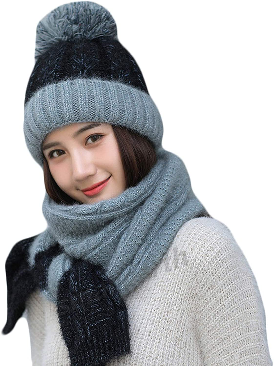 d587444e Winter Women Knitted Hat Scarf 2Pcs Set Fashion Wool Thick Hat Collars  Female Warm Hat Long Scarf Set Cute Snow Cap Beanies nqbmsf6595-New Clothing