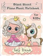 Blank Sheet Piano Music Notebook Kids: Princess & Unicorn Wide Staff Manuscript Paper Songwriting Composition Journal 8.5
