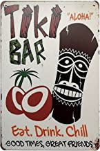 Placa de metal vintage Erlood Tiki Bar Eat Drink Good Times Great Friends decoração de parede arte Pub 12 x 8