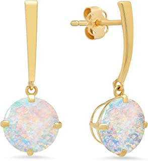 Certified 14k White or Yellow Gold Solitaire Round-Cut Gemstone Drop Earrings (8mm)