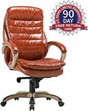 CLATINA Executive Bonded Leather Chair with Lean Forward High Back and Comfort Padding Ergonomic Seat for Managerial Office Home (Orange/New)