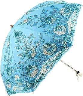 Honeystore Wedding Lace Sun UV Parasol 2 Folding 3D Flower Embroidery Umbrella H7207 Blue