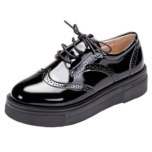 638c679cf16 DADAWEN Women s Lace-up Oxfords Brogue Platform Shoes