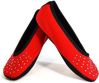 NuFoot Sparkle Ballet Flats Women's Shoes, Best Foldable & Flexible Flats, Slipper Socks, Travel Slippers & Exercise Shoe...