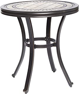 dali Handmade Dining Table Contemporary Round a Tile-Top Design with Heavy-Duty Aluminum Frame 28 Dia x 28.6 Height