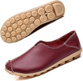 Dames Leren Moccasins Casual Slip Op Loafers Platte Boot Schoenen Rijden Schoenen Maat 35-44
