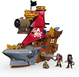 "Fisher-Price Imaginext Shark Bite Pirate Ship, Roll from one swashbuckling adventure to the next with this pirate ship playset featuring ""shark biting"" action!, Multi-colored"