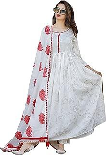 Bae's Wardrobe Women's Rayon Printed A Line Kurti, Palazo Pant and Dupatta Set - Red White