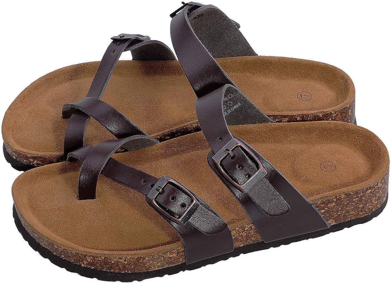 Festuoning kvinnor 2 -Strap PU läder Platform Comfortable Sandals Cork Cork Cork Sole Slide On skor  spara 60% rabatt
