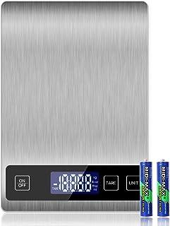 Amazon Brand – Eono Bilancia digitale da cucina, in acciaio inossidabile, pesa in grammi e once, 10 kg / 2 g , garanzia 15...
