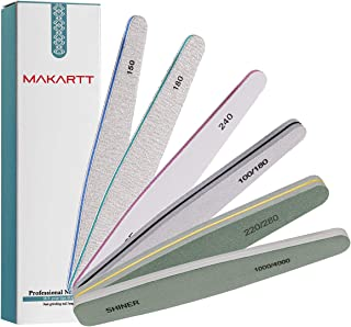 Makartt 6 Pcs Nail File for Acrylic Gel Nails, Professional Nail File Buffer Polisher Kit, Nail Emery Boards Files Set for Manicure, Bulk Nail Files Assortment F-07