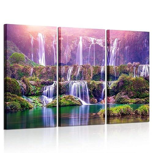 Merveilleux Kreative Arts Large Size 3 Pieces Peaceful Dreamlike Waterfall Canvas Wall  Art Purple Landscape Picture Artwork