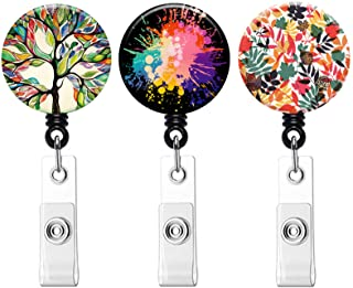 Retractable ID Badge Holder ID Badge Reels with Clip Retractable Badge Holder for Office Worker Doctor Nurse (Tree Leaf Bu...