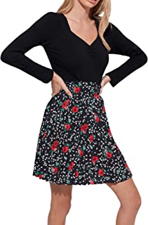 Women's Casual Floral Paper Bag Waist Skater Pleated Short A Line Skirt