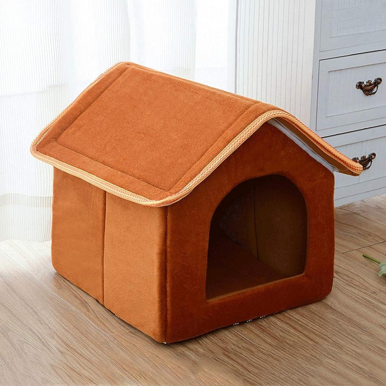Removable and Washable, Breathable, MoistureProof, NonSlip, Fleece, Threecolor Optional Pet Nest, Pet House (color   Brown, Size   L)