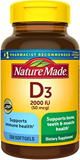 Nature Made Vitamin D3 2000 IU (50 mcg) Softgels, 250 Count Everyday Value Size for Bone Health� (Packaging May Vary)