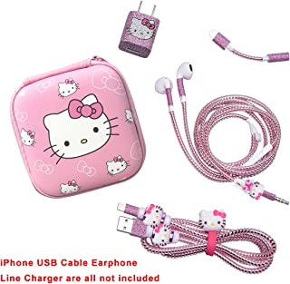 Hard Shockproof Earphone Headphone Case Storage Bag and DIY Wire Saver Protectors Kit Compatible for iPhone 5 5S 6 6S 7 8 Plus X IPad Charging Cable/Earphones and USB Charger Data Line - Hello Kitty