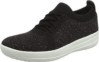 FITFLOP Women's Lace Up F-Sporty Uberknit Sneaker, Black, 6.5 US