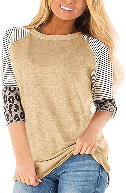 kigod Women Casual 3/4 Sleeve Leopard Color Block Tunics Stripe Round Neck Tops Blouse