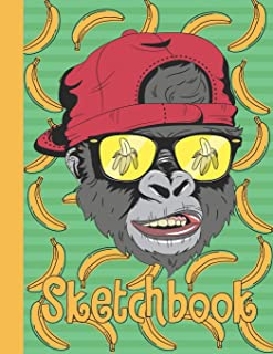 Sketchbook: Funny Blank Notebook for Sketching and Picture Space with Cool Gorilla Face and Bananas, Unlined Paper Book fo...