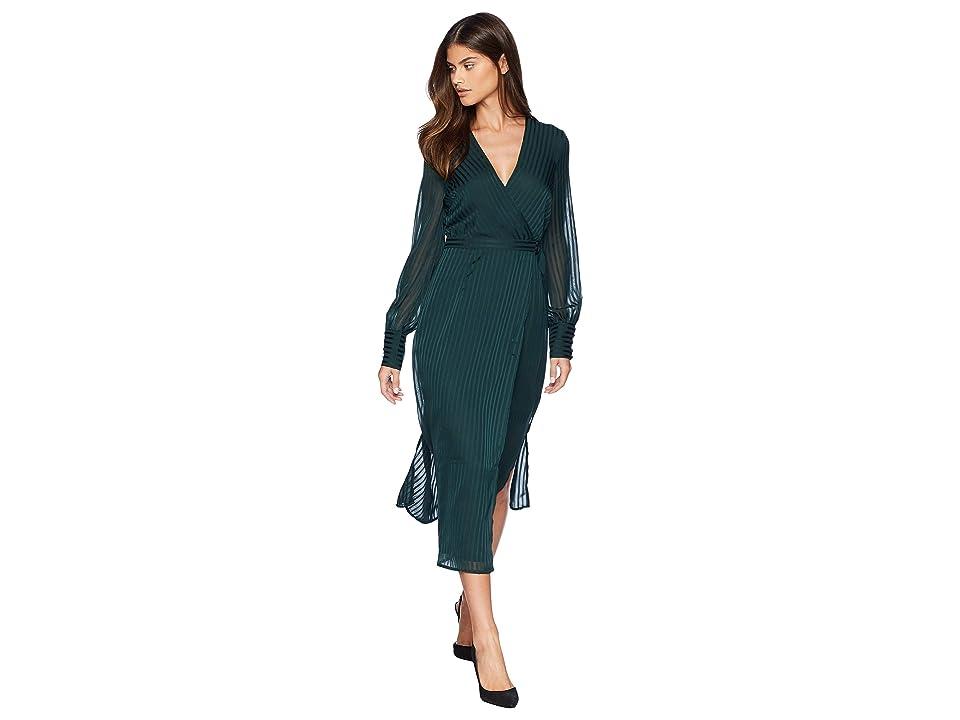 Bardot Shadow Stripe Dress (Dark Forest) Women