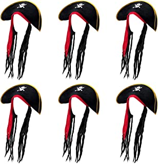 6-Pack of Pirate Hats with Dreadlocks - Pirate Costume Accessories for Dress Up, Parties & Halloween Costumes - Caribbean Pirate Captain Theme Costumes, Dress Up, Cosplay Black Headwear with Hair
