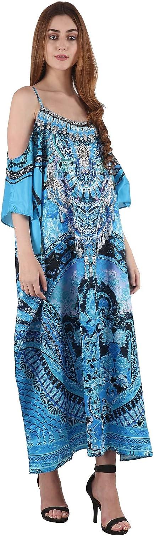 Women's Kaftan Cami Caftan Cold Shoulder Maxi Blue Exotic Print Beachwear Swimsuit Bikini Cover up Party Gown Kimono Gift Dress for her (AN-7169)